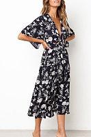 Deep V Neck  Floral Printed  Bell Sleeve  Short Sleeve Maxi Dresses