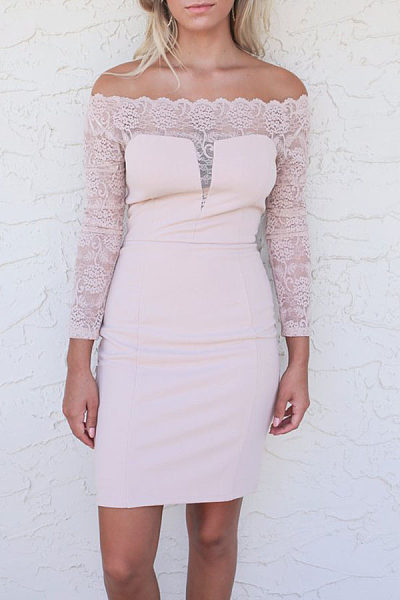 Off Shoulder  Patchwork  Plain Bodycon Dresses