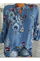Autumn Spring Summer Cotton V-Neck Button Floral Printed Blouses