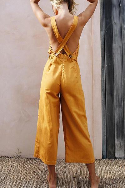 Glamorous Double Button Plain Straps Jumpsuits