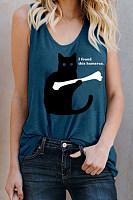 Scoop Neck  Print Camis