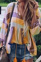 Casual V Neck Long Sleeve Striped Shirt