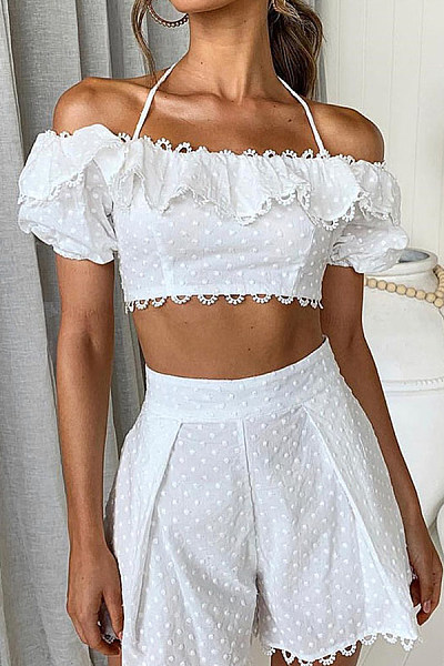 Sling Strapless Blouse Lace   Stitching Short Shorts Suit