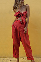 Sexy Wrapped Chest High Waist Trousers Belt Set
