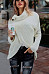 High Neck  Asymmetric Hem  Decorative Buttons  Plain Sweaters