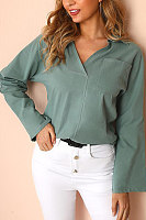 Women's Fashion V-Neck Pocket Long-Sleeved Shirt