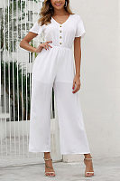 Casual V-Neck Button Solid Color Short-Sleeved Jumpsuit