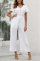 Casual V-Neck Button Solid Color Short-Sleeved Jumpsuit
