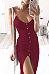 Spaghetti Strap  High Slit Single Breasted  Plain  Sleeveless Maxi Dresses