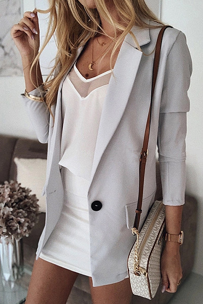 Commuting Long Sleeve Solid Color Temperament Suit Outerwear
