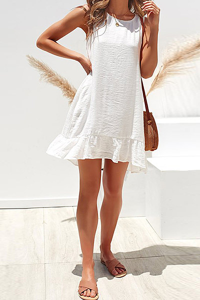 Round Neck  Loose Fitting  Plain  Sleeveless Casual Dresses