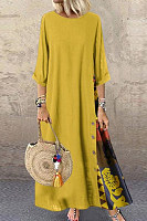 Casual Round Neck Button Bracelet Sleeve Maxi Dress