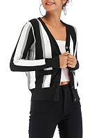 V Neck  Single Breasted  Stripes Cardigans