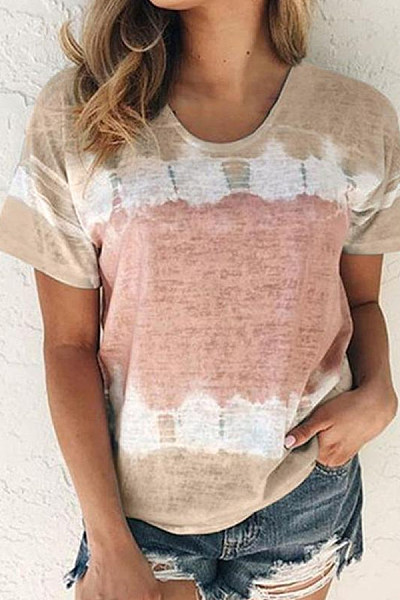 Round Neck Contrast Short-Sleeved T-Shirt