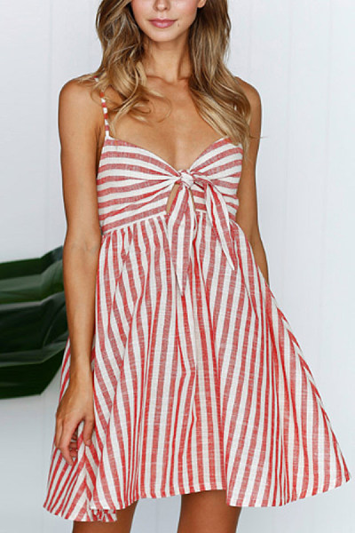 Spaghetti Strap  Backless Bow  Stripes  Sleeveless Skater Dresses