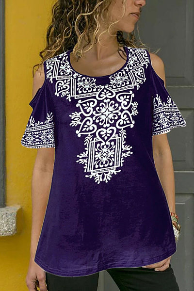 Casual Off-Shoulder Printed Colour Short Sleeve T-Shirt