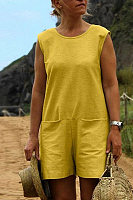 Pure Color Plus Size Casual Sleeveless Loose Playsuits