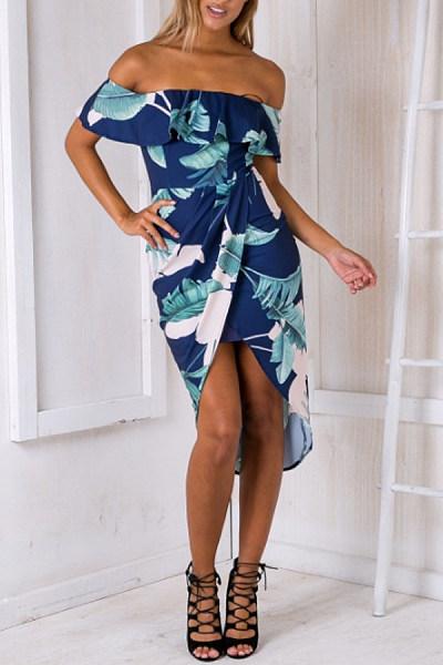 Off Shoulder  Slit  Floral Printed Bodycon Dresses
