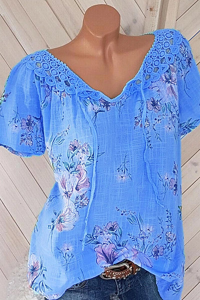 Round Neck  Lace Up Patchwork  Lace Print Blouses