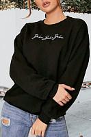 Round Neck  Letters Plain  Sweatshirts