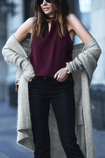 Basic Draped Pocket  Plain Cardigans