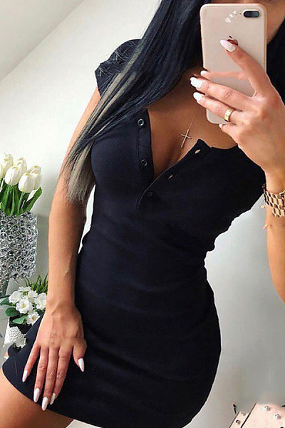 Round Neck  Plain  Short Sleeve Bodycon Dresses
