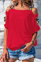 Scoop Neck  Hollow Out Plain T-Shirts