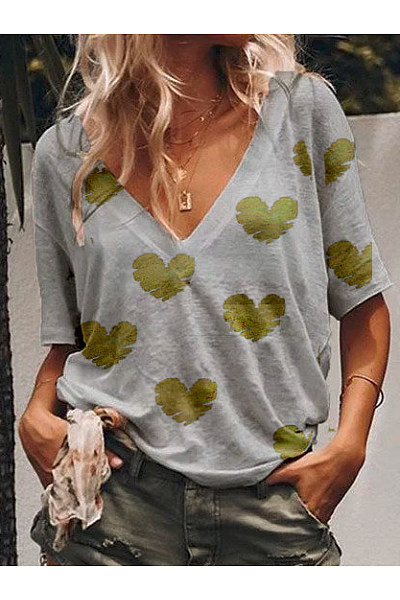 Summer V-Neck Loose Love Print Fashion T-Shirt