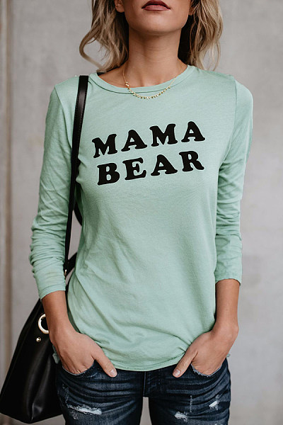 Round Neck Letters Printed MAMA BEAR Green T-Shirt