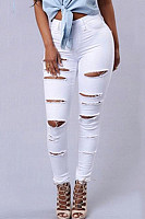 Women's Fashion Shredded Stretch Jeans