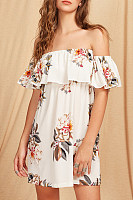 Strapless  Backless  Cascading Ruffles  Floral Casual Dresses