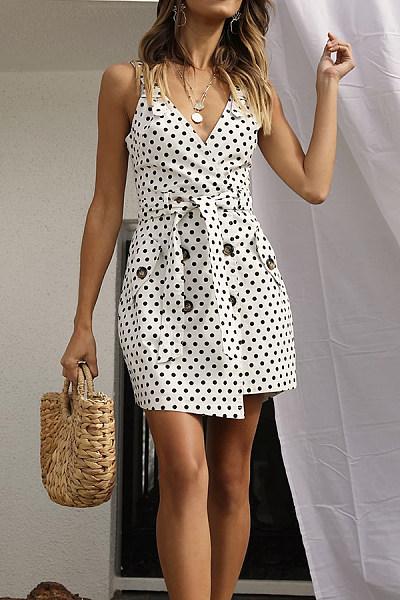 Casual V-Neck Waist Tie Button Pocket Irregular Wave Point Dress