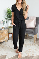 V Neck  Lace Up Ruffle Trim  Plain Jumpsuits