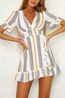 Deep V Neck  Bow  Cascading Ruffles  Striped  Bell Sleeve  Short Sleeve Casual Dresses