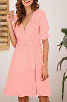V Neck  Plain  Short Sleeve  Basic Skater Dresses