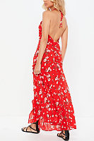 Halter  Backless Slit  Floral  Sleeveless Maxi Dresses