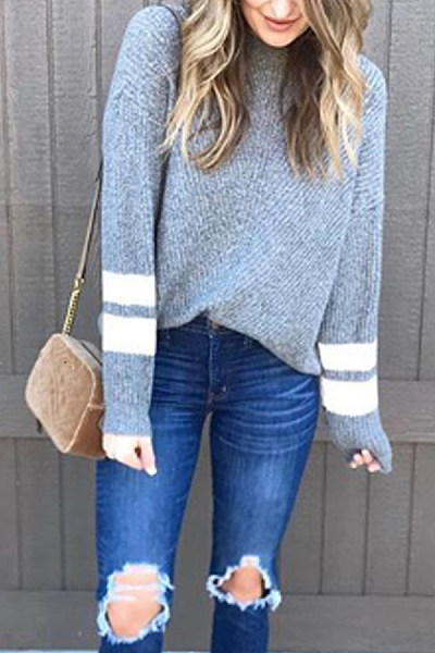 Casual Round Neck Solid Color Cuff Striped Long Sleeve Sweater