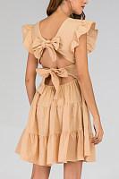 Round Neck  Backless  Plain  Short Sleeve  Basic Skater Dresses