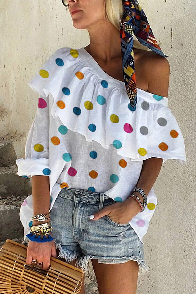 Casual Off-The-Shoulder Ruffled Long-Sleeved Color Polka Dot Shirt