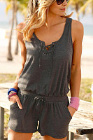 Spaghetti Strap  Backless  Belt Loops  Plain  Sleeveless  Playsuits