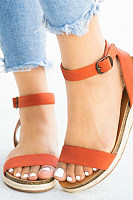 Plain Flat Peep Toe Casual  Wedge Sandals