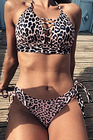 Leopard Print Deep V-Neck Fashion Bikini