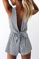 Deep V - Back Striped Playsuit