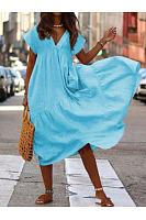 Casual Pure Colour V Neck Loose Short Sleeve Casual Dresses