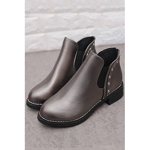 Rivet  Plain Boots  Low Heel Boots