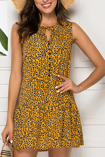 Round Neck  Leopard Printed  Sleeveless Skater Dresses