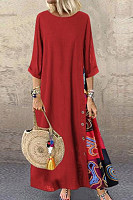 Casual Round Neck Button Bracelet Sleeve Maxi Dress