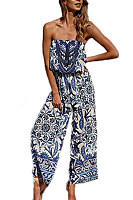 Strapless  Backless  Abstract Print  Sleeveless Jumpsuits