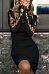 Round Neck  Lace Up  Hollow Out Plain Bodycon Dresses