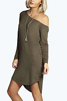 One Shoulder  Asymmetric Hem  Plain Casual Dresses